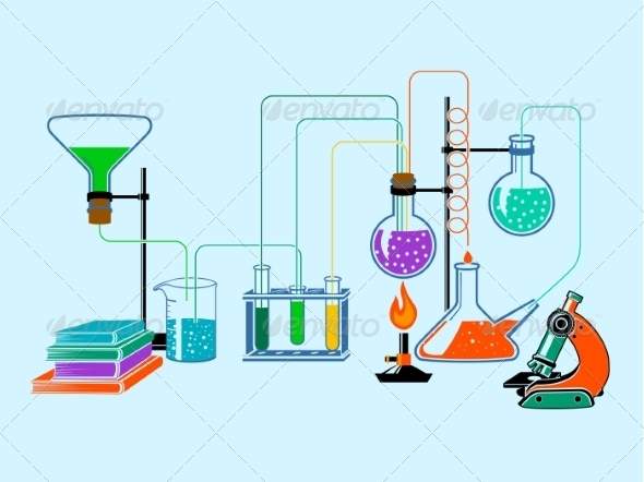 scientific laboratory flat background by macrovector