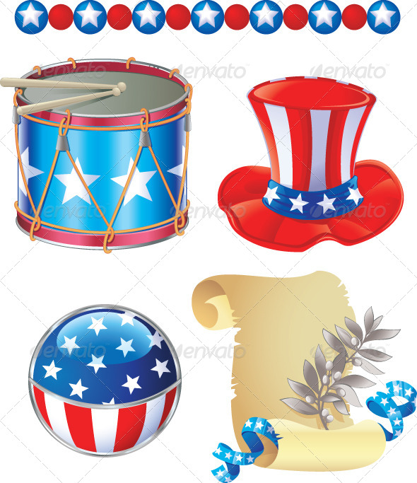 4th Of July Symbols Set By Solaie Graphicriver