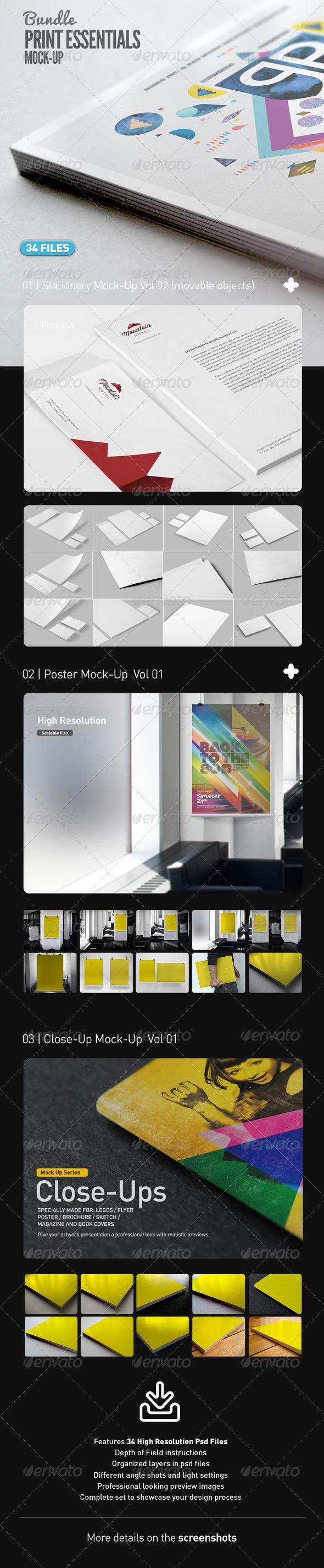 Stationery Poster Close Up Mock-Up Bundle Vol 01 - Print Product Mock-Ups