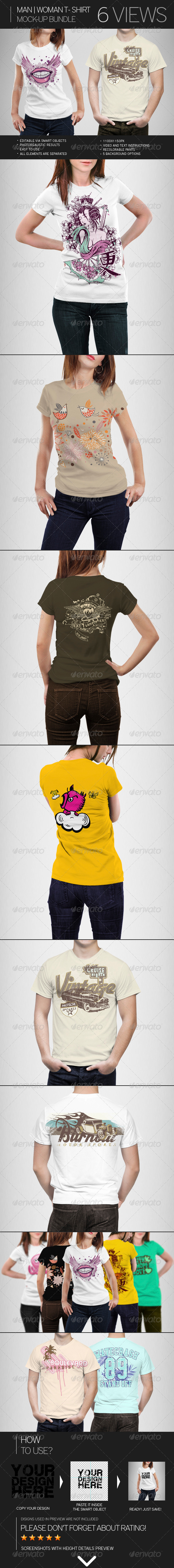 Man | Woman T-Shirt Mock-Up Bundle - T-shirts Apparel