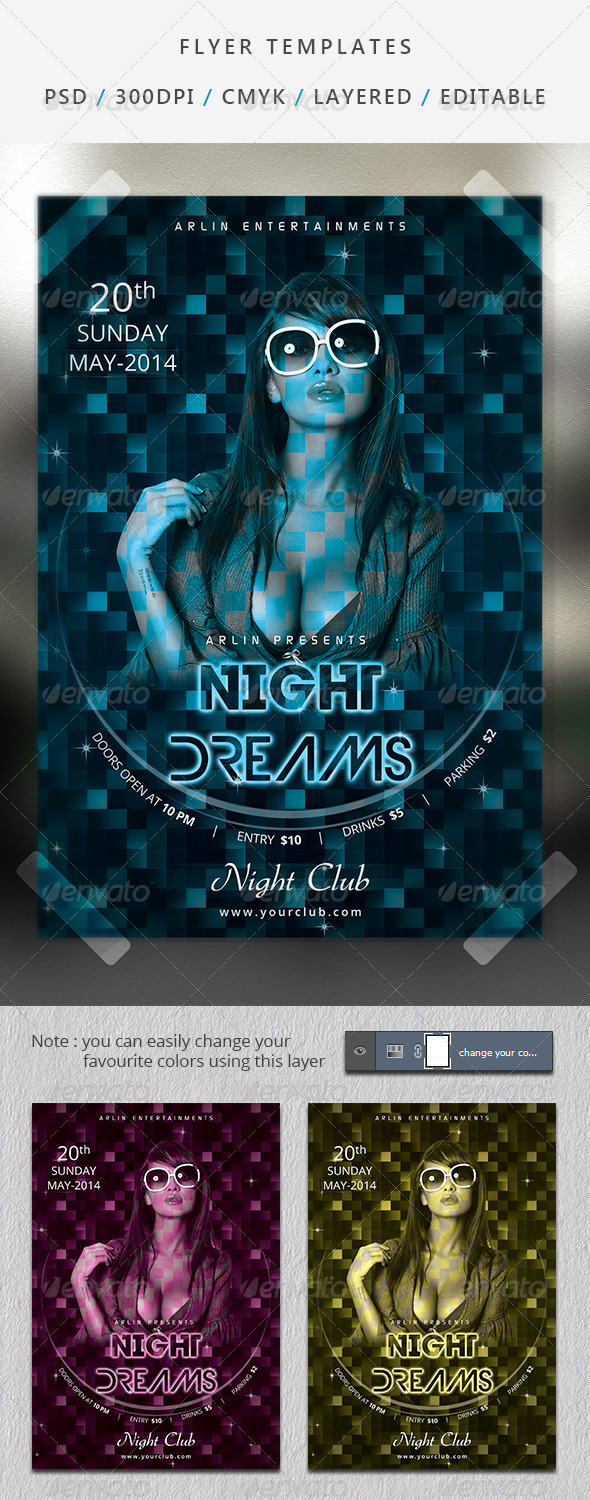 Night Dreams Party Flyer  - Clubs & Parties Events