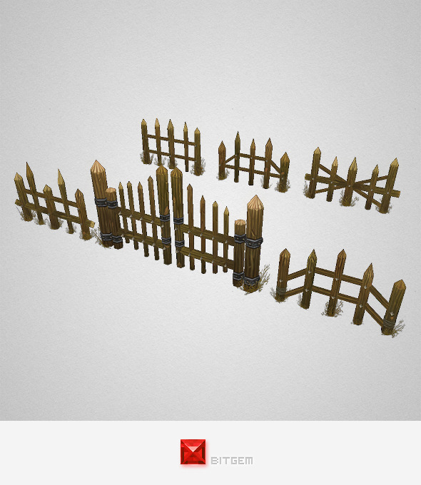 Low Poly Fence Set 01 - 3DOcean Item for Sale