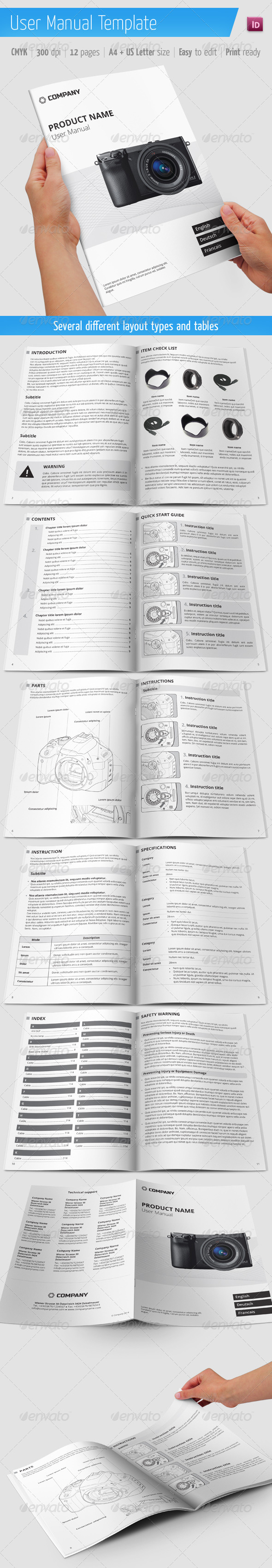 User Manual Template   Informational Brochures  Product Manual Template