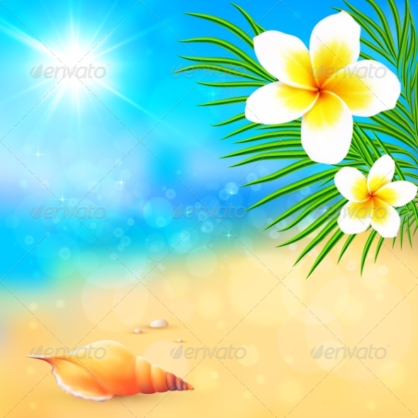 Sunny Summer Beach With Shell And Flowers By Art Of Sun