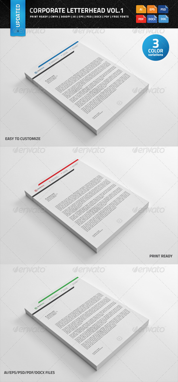 Corporate Letterhead vol.1 with MS Word Doc - Stationery Print Templates