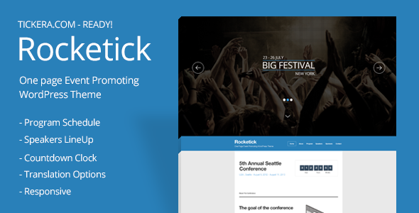 Rocketick - Responsive Events WordPress Theme - Events Entertainment