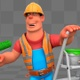 Cartoon Construction Painter Does Transition - VideoHive Item for Sale