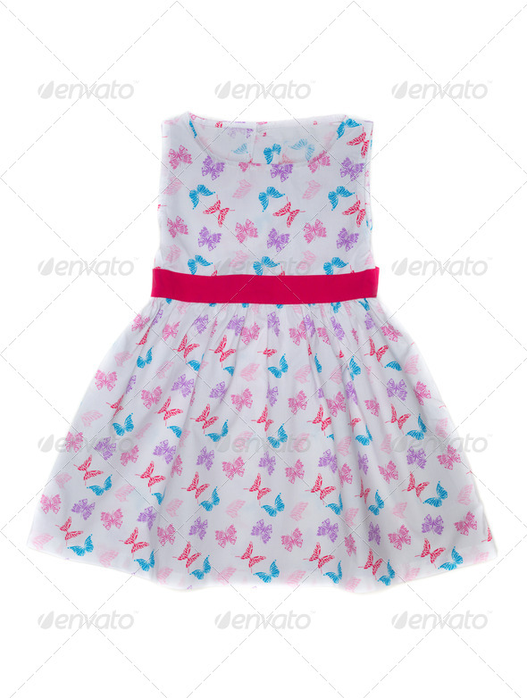 Baby dress with butterfly pattern. - Stock Photo - Images