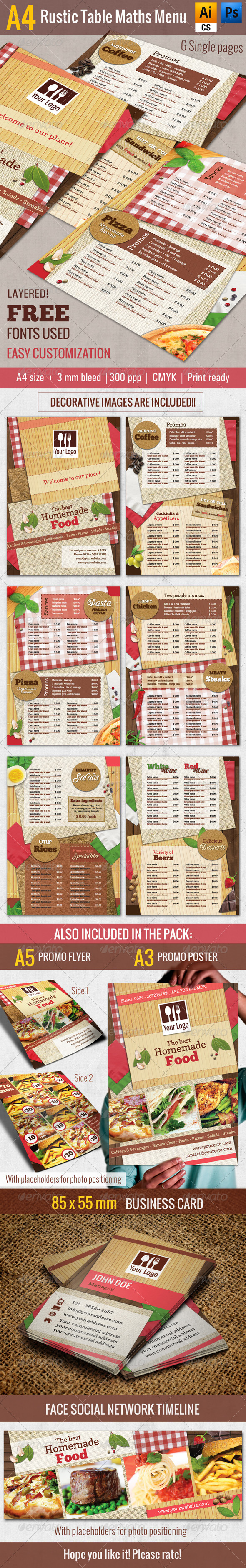 A4 Rustic Table Mats Menu - Restaurant Pack - Food Menus Print Templates