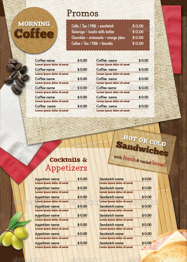 A4 rustic table mats menu restaurant pack by good for Table table restaurant menu