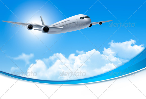 Travel background with an airplane and clouds by almoond travel background with an airplane and clouds travel conceptual toneelgroepblik Gallery