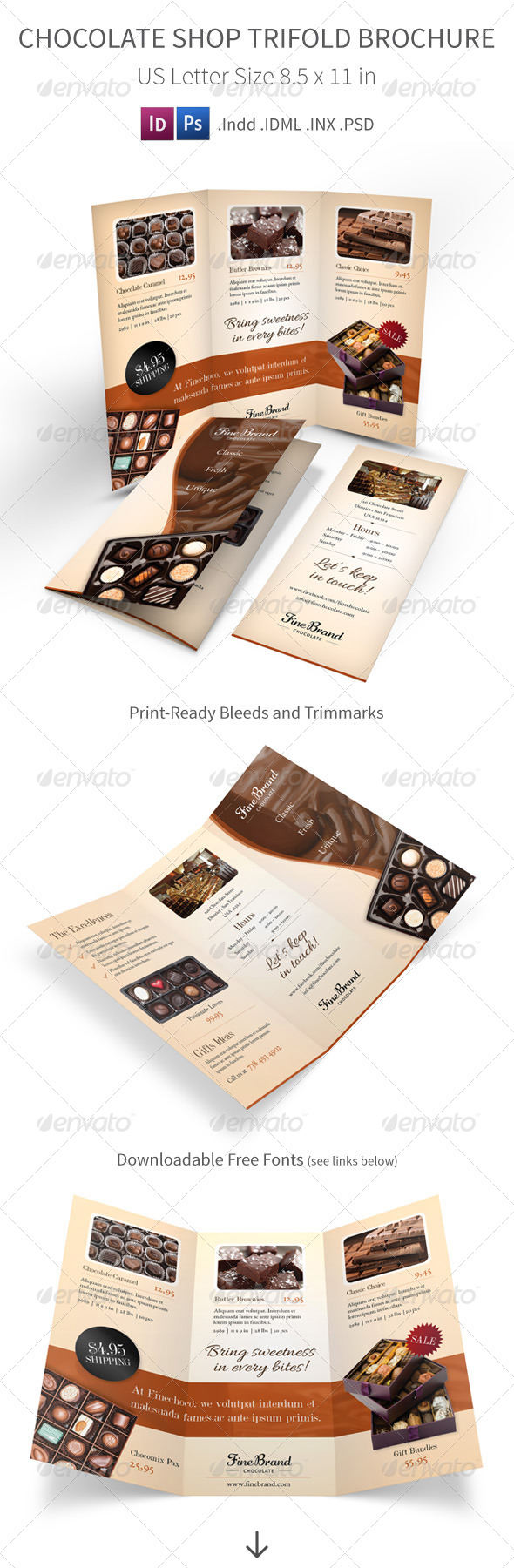 Chocolate Shop Trifold Brochure - Informational Brochures