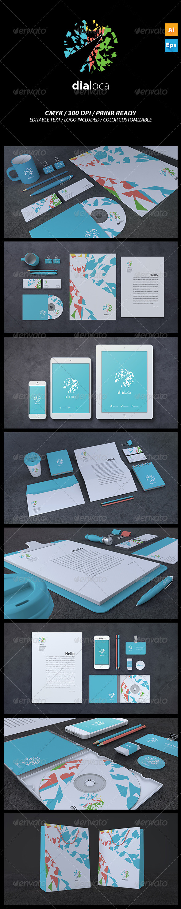 DiaLoca Corporate Identity - Stationery Print Templates