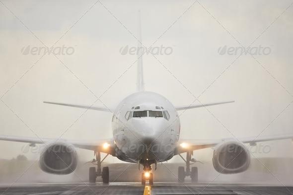 Landing in rain - Stock Photo - Images
