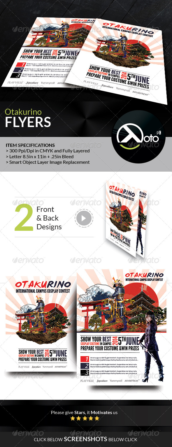 otakurino international cosplay contest flyers by totopc graphicriver. Black Bedroom Furniture Sets. Home Design Ideas