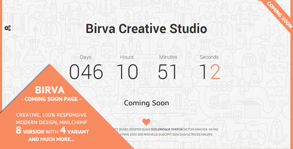 Birva - Creative Coming Soon Theme - Under Construction Specialty Pages