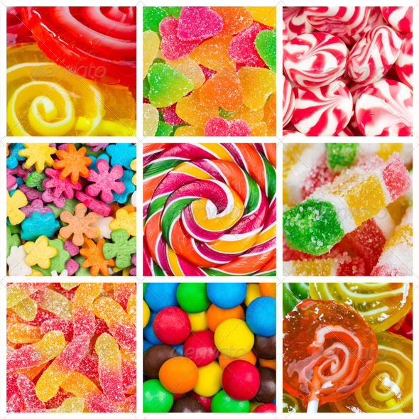 Collage of candy and sweets - Stock Photo - Images