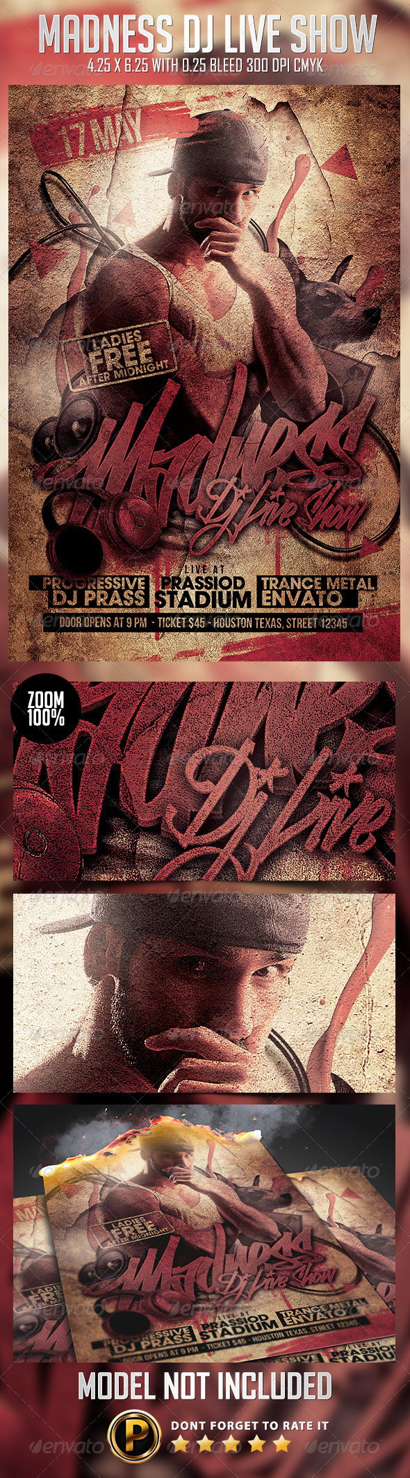 Madness Dj Live Show Flyer Template - Clubs & Parties Events