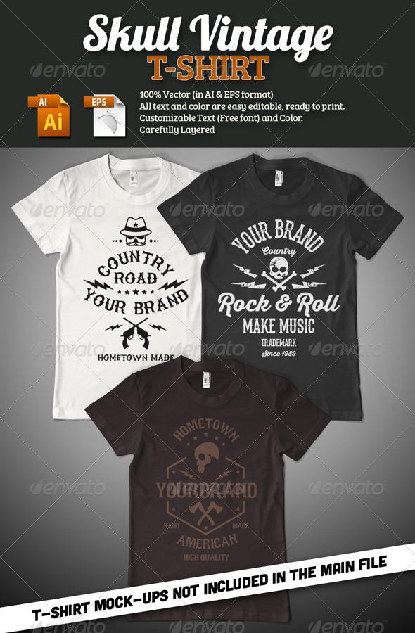 Skull Vintage T-Shirt - Grunge Designs