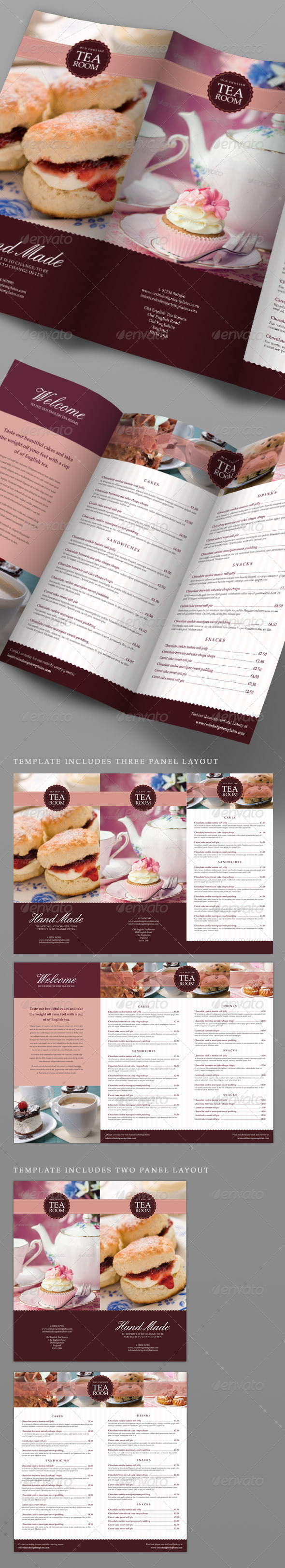Tea Room Coffee Shop Menu - Food Menus Print Templates