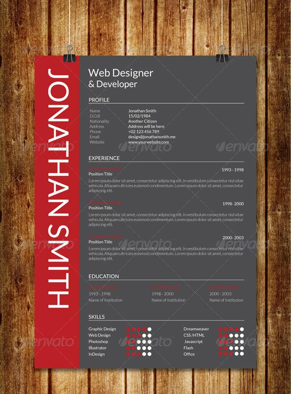 modern resume v1 by sawonahmed graphicriver
