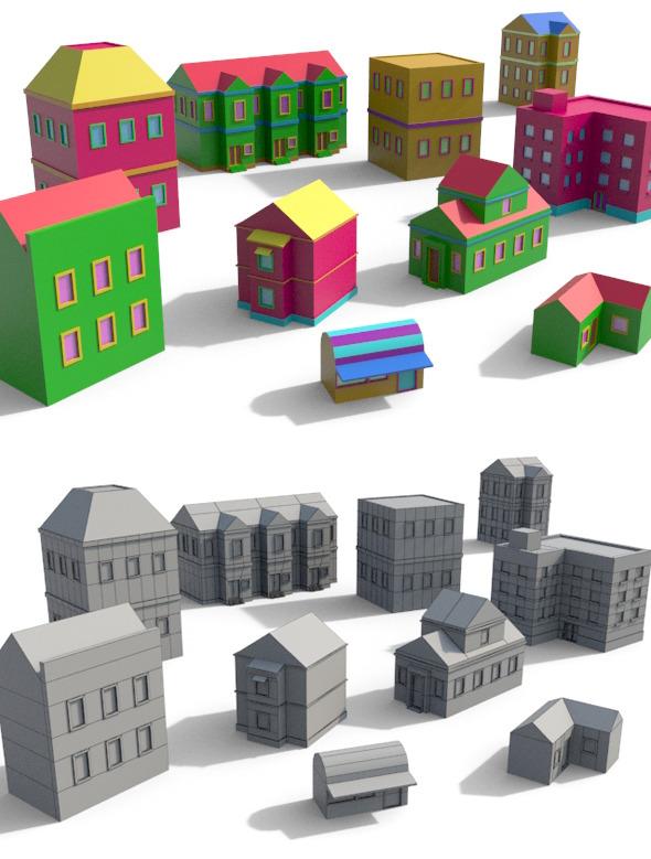 Cartoon Building Pack 2 - 3DOcean Item for Sale