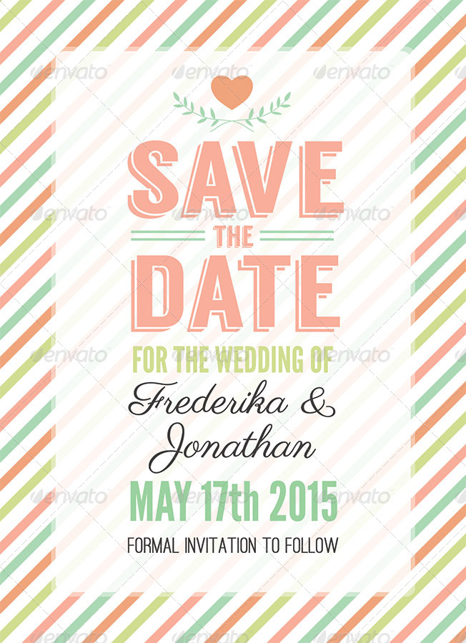 Stripes Save the Date - PSD Template by CarousellerieCreative ...