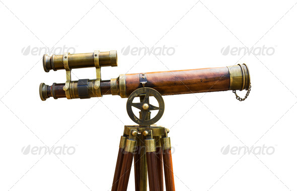 Antique brass telescope - Stock Photo - Images