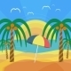 Tropical Beach with Palm Trees and Umbrella - GraphicRiver Item for Sale