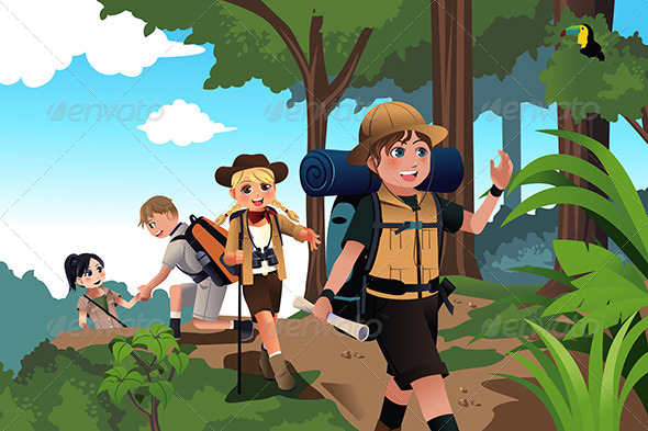 kids on an adventure trip by artisticco graphicriver