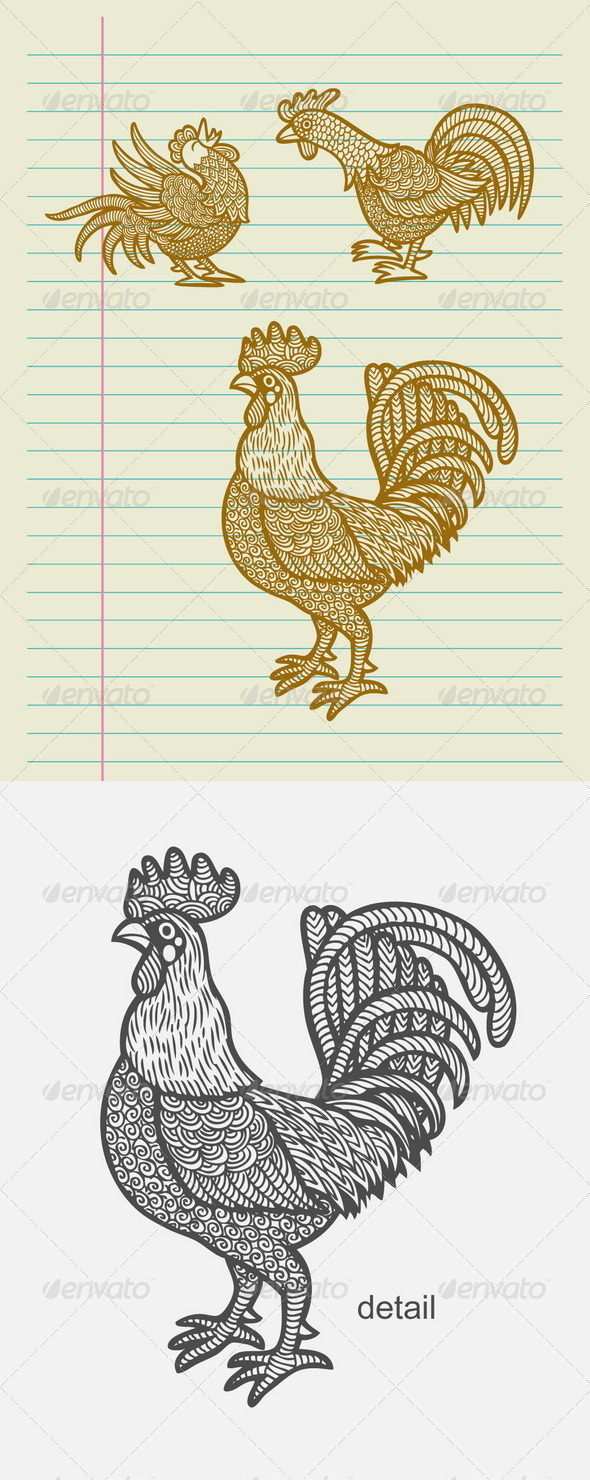 Decorative Rooster Sketches - Patterns Decorative