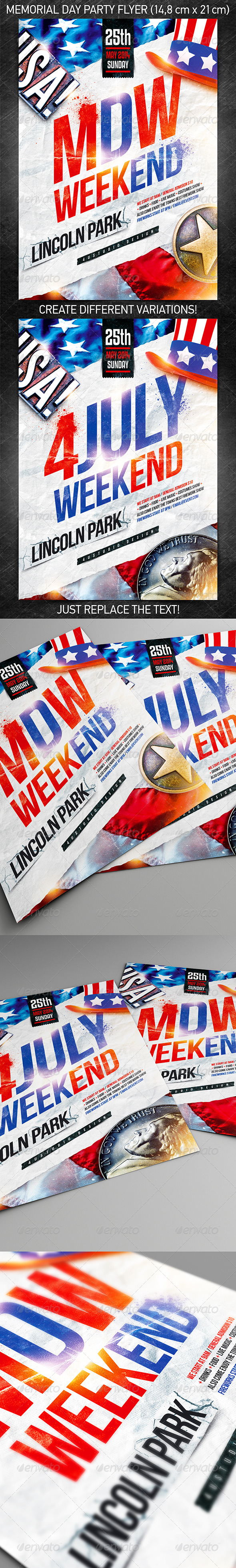 Memorial Day Weekend Party Flyer Vol.2 - Holidays Events