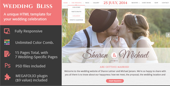 Wedding Bliss - a Unique Wedding Template - Wedding Site Templates