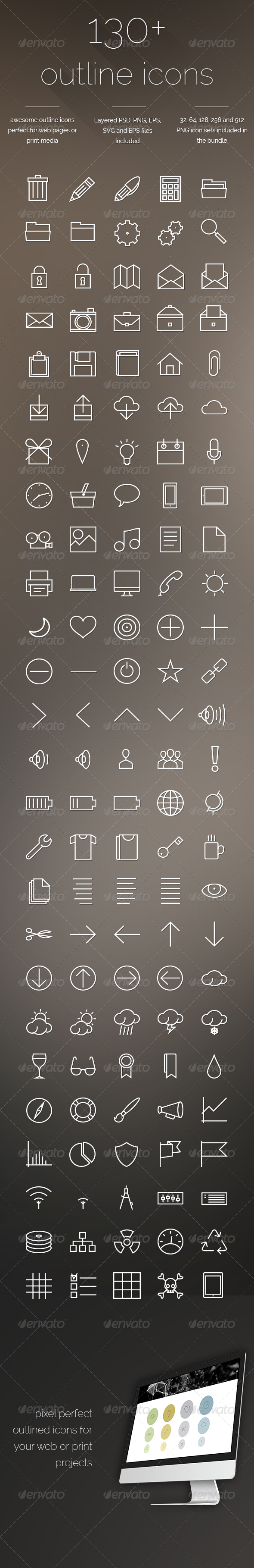 Outline Icons - Set of 130+ icons