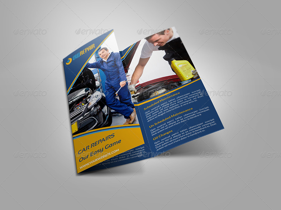 car repair tri fold company brochure template