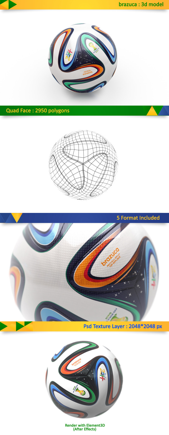 Brazuca Soccer Ball World Cup - 3DOcean Item for Sale