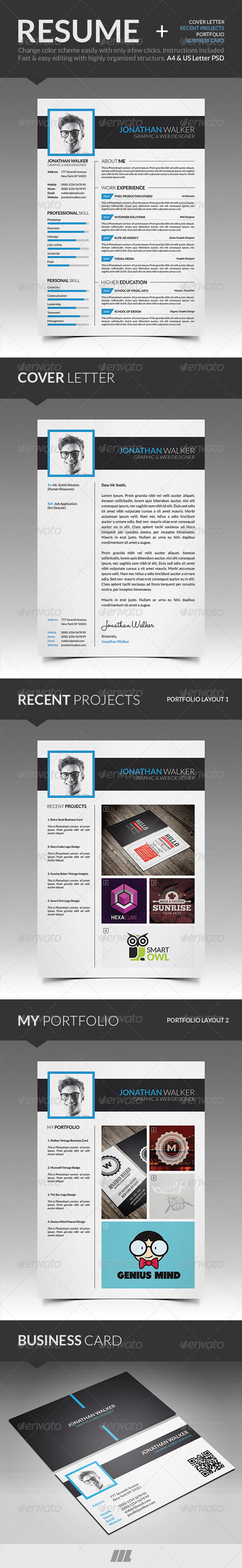Modern Resume With Business Card by mengloong