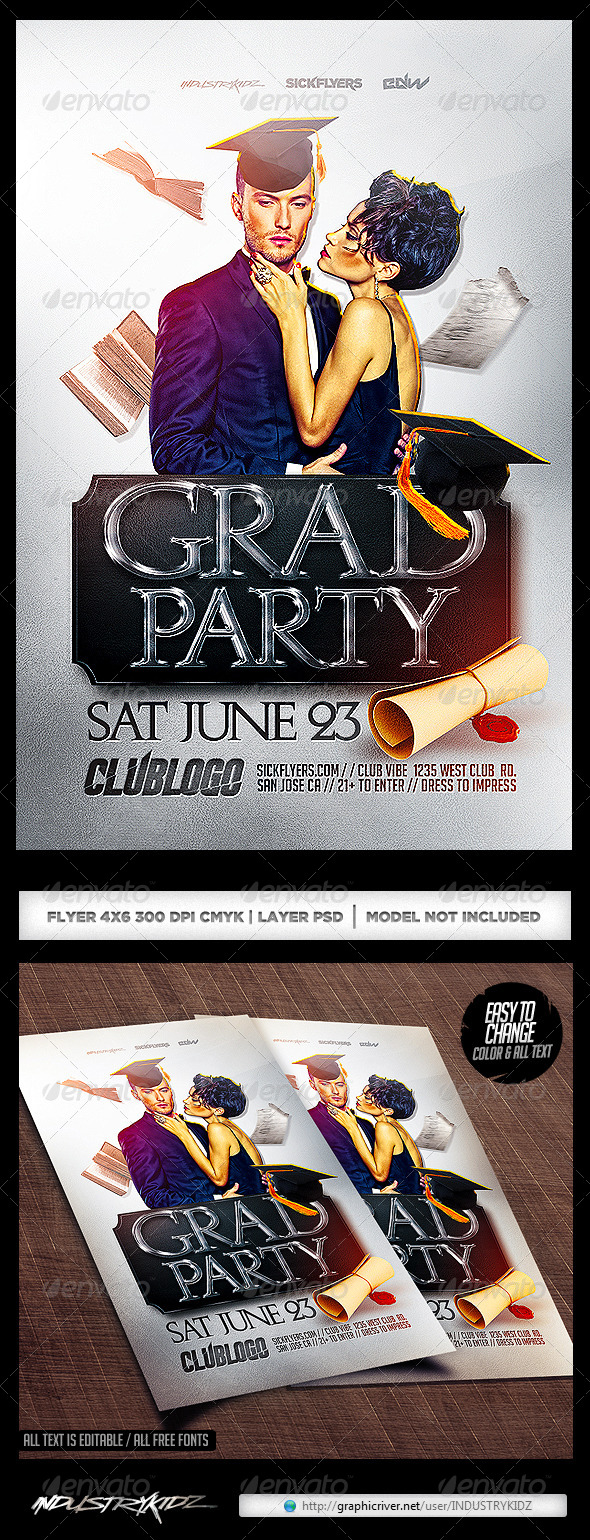Lovely Graduation Party Flyer Template   Clubs U0026 Parties Events