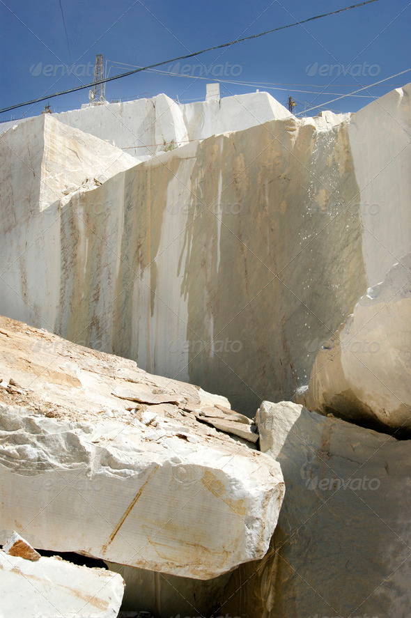 Marble quarry in Carrara White Italy - Stock Photo - Images