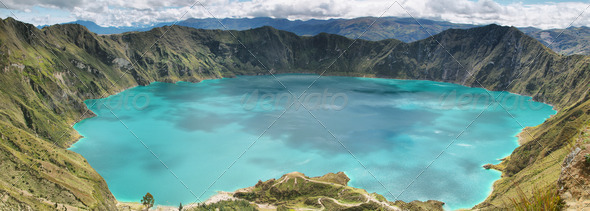 Amazing view of  lake of the Quilotoa caldera - Stock Photo - Images