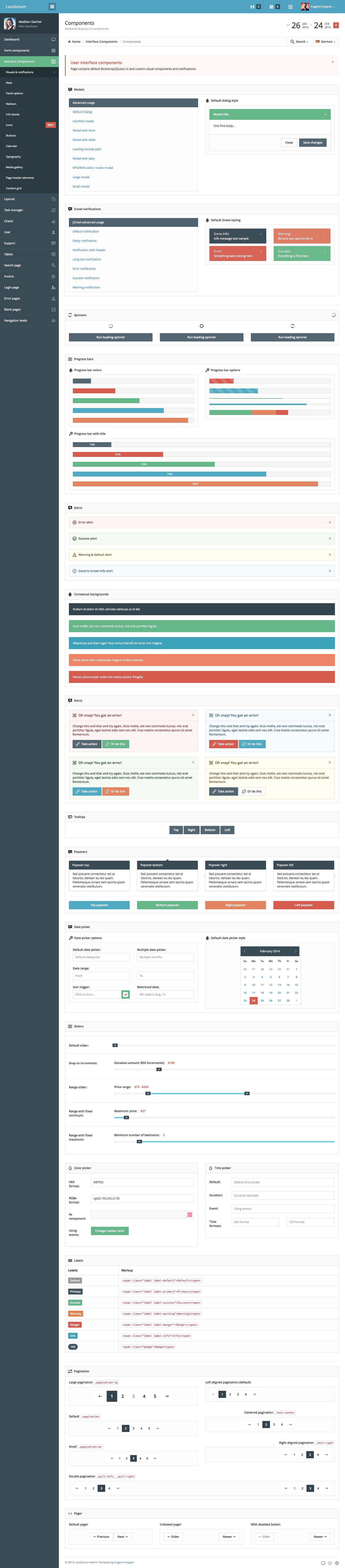Londinium - responsive bootstrap 3 admin template