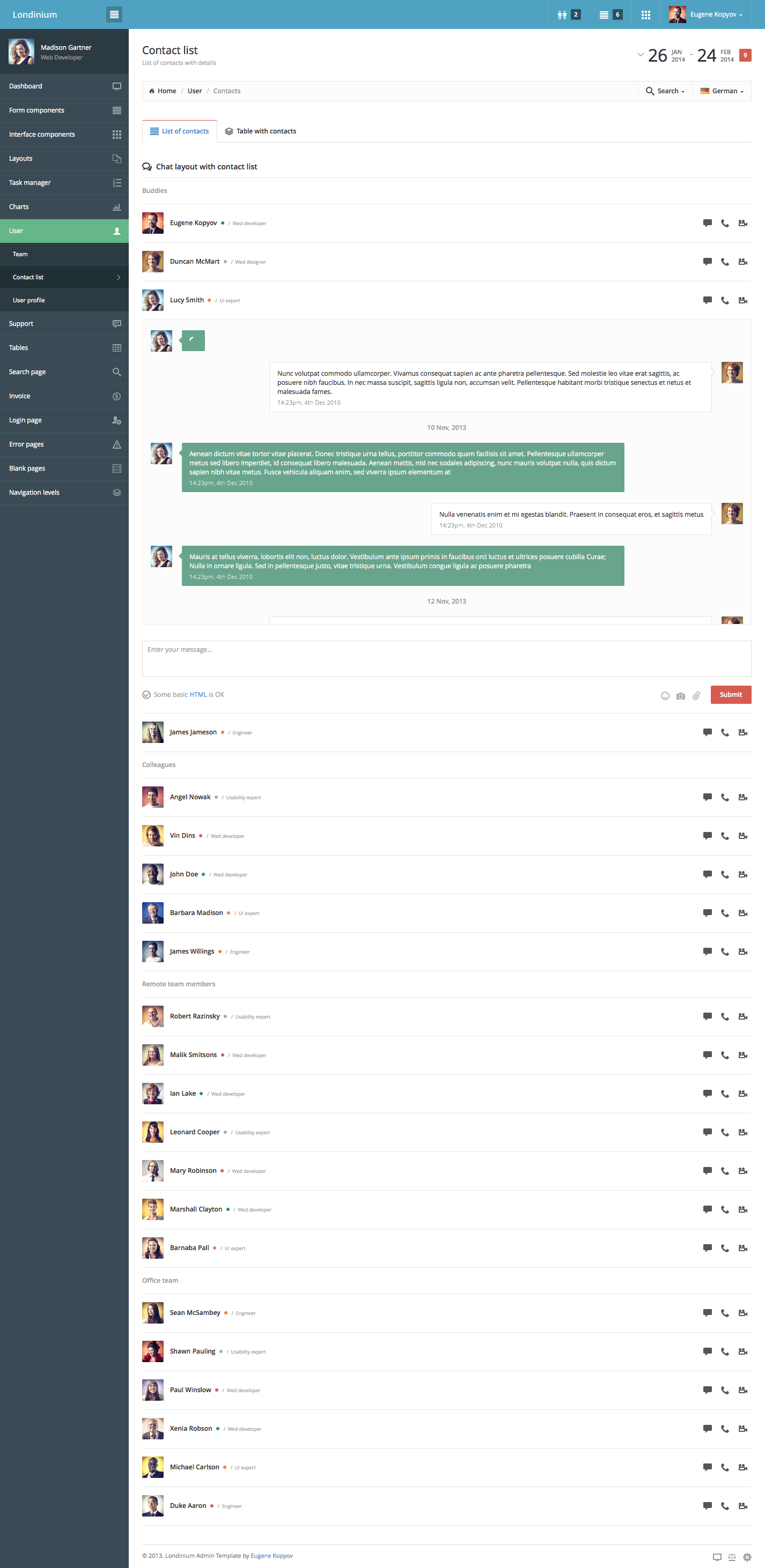 Londinium - responsive bootstrap 3 admin template by Kopyov ...