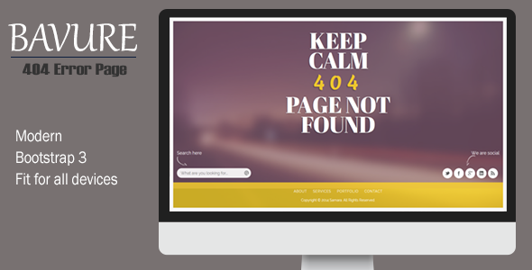Bavure - Responsive 404 Error Template - 404 Pages Specialty Pages