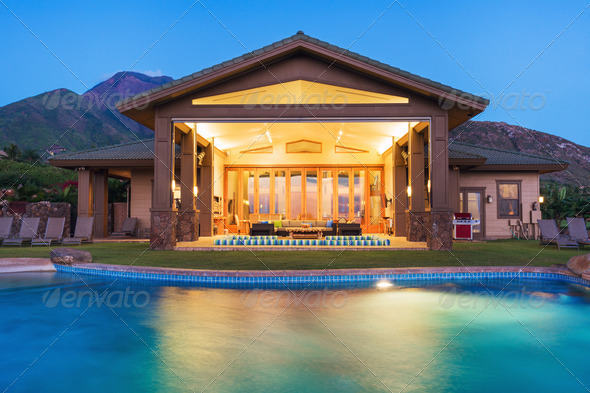 Luxury home with swimming pool - Stock Photo - Images