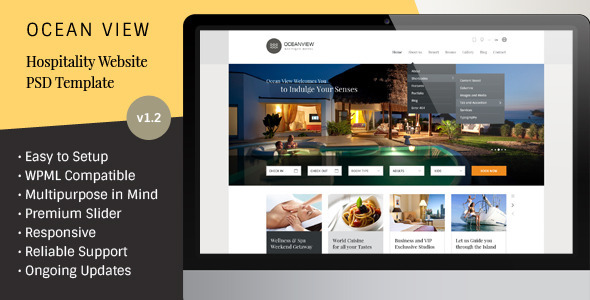 Ocean View – Hotel Website PSD Template