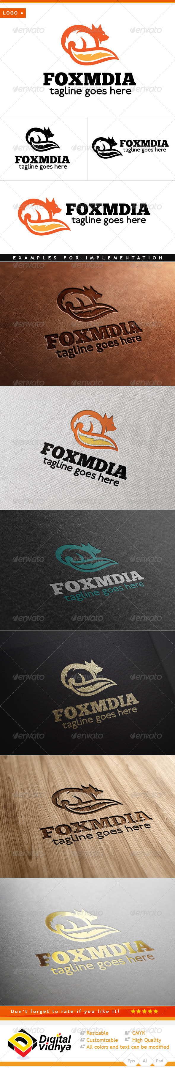 Fox Art Vector Logo - Animals Logo Templates