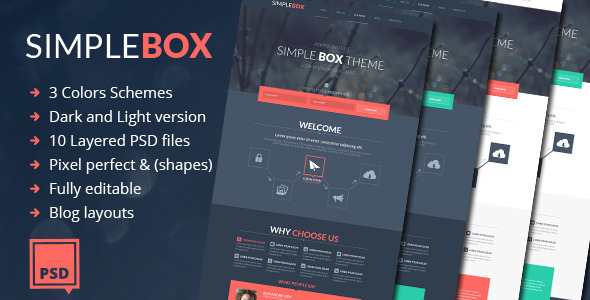 Simple Box – One Page Multi-Purpose Psd Theme