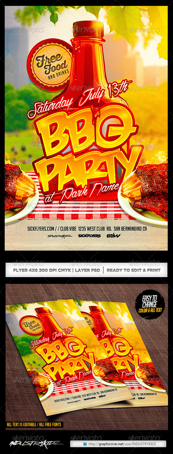 bbq party flyer template psd clubs parties events