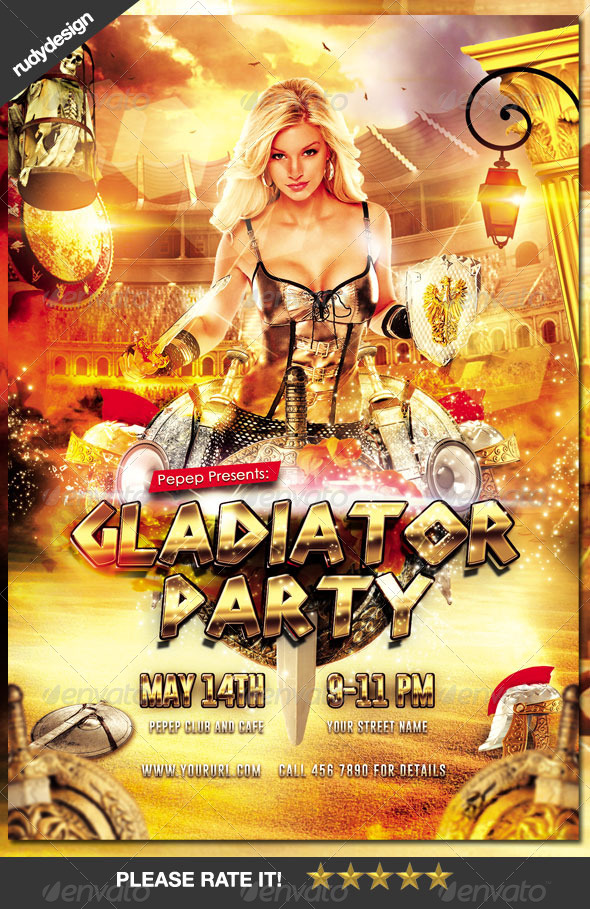 gladiator ancient rome greek party flyer clubs parties events