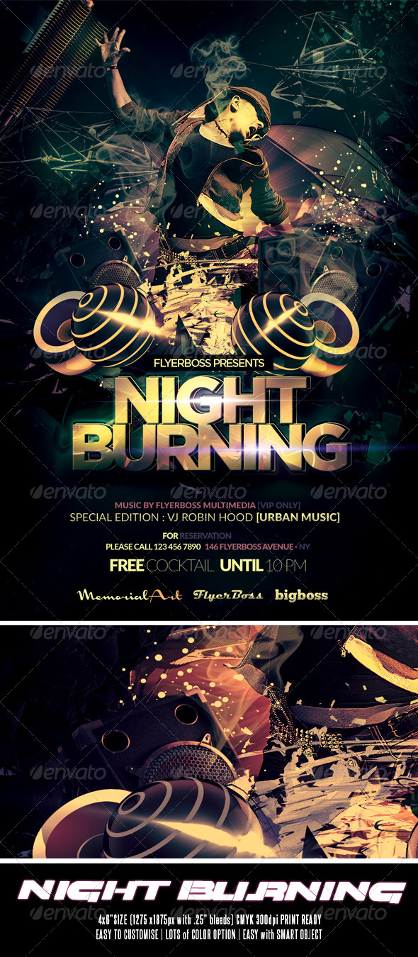 Night Burning Flyer - Events Flyers